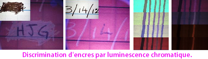 Analyse par luminescence chromatique de faux documents.